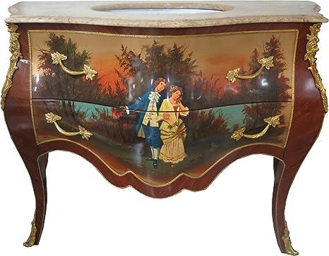 Accessori Bagno Marrone : Casa padrino lavabo barocco marrone con piano in marmo dipinto e