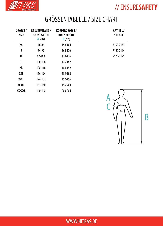 Nitras 7150 CChaqueta de Trabajo para Hombre Cortavientos con Recorte Reflectante S Impermeable a Prueba de Viento y Doble Capa XXXL