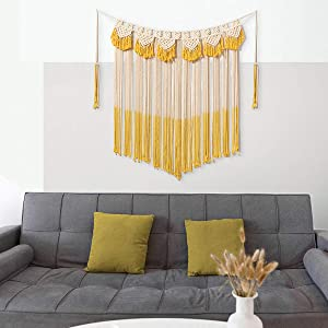 "ARTALL Wall Hanging Macrame Curtain Fringe Banner Bohemian Wall Decor Woven Tapestry Home Decoration for Wedding Apartment Bedroom Living Room Gallery 42"" x 57"" Ivory and Yellow"
