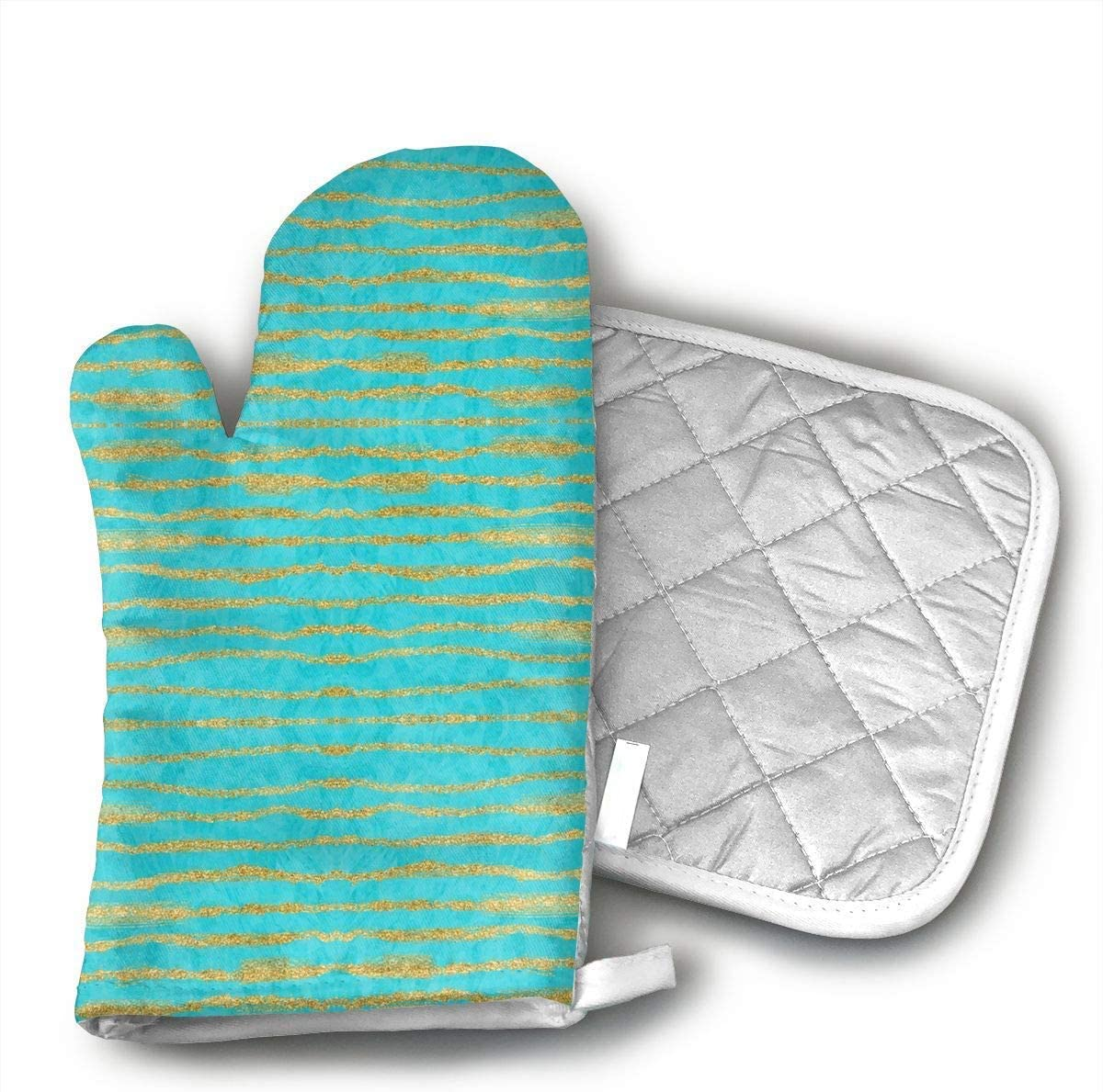 Thin Gold Glitter Stripes Turquoise Oven Mitts and Pot Holders Set with Polyester Cotton Non-Slip Grip, Heat Resistant, Oven Gloves for BBQ Cooking Baking, Grilling