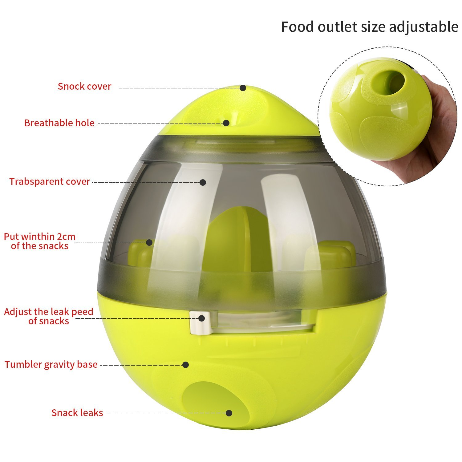 KAOSITONG Interactive Dog Toy,Interactive Food Dispensing Ball Dogs Cat Increases IQ & Mental Stimulation,Slows Down Eating,Promoting Active Healthy Feeding Small Medium Large Dogs,Easy to Clean by KAOSITONG (Image #5)