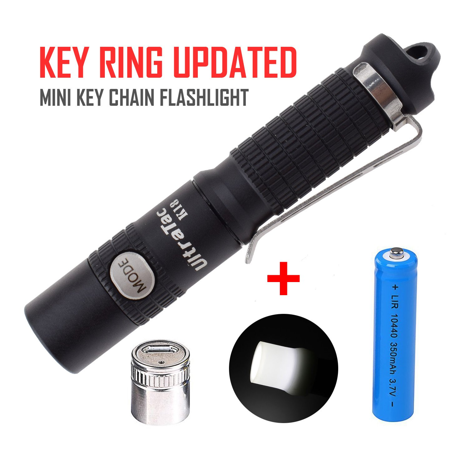 UltraTac K18 2017 AAA Key Chain Flashlight with 10440 Rechargeable Battery and USB Charge Module 370 Lumen Side Button Switch LED Keychain Lights
