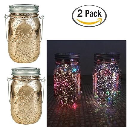 Amazon Com Mason Jar Solar Lights 10 Led Solar Color Fairy String