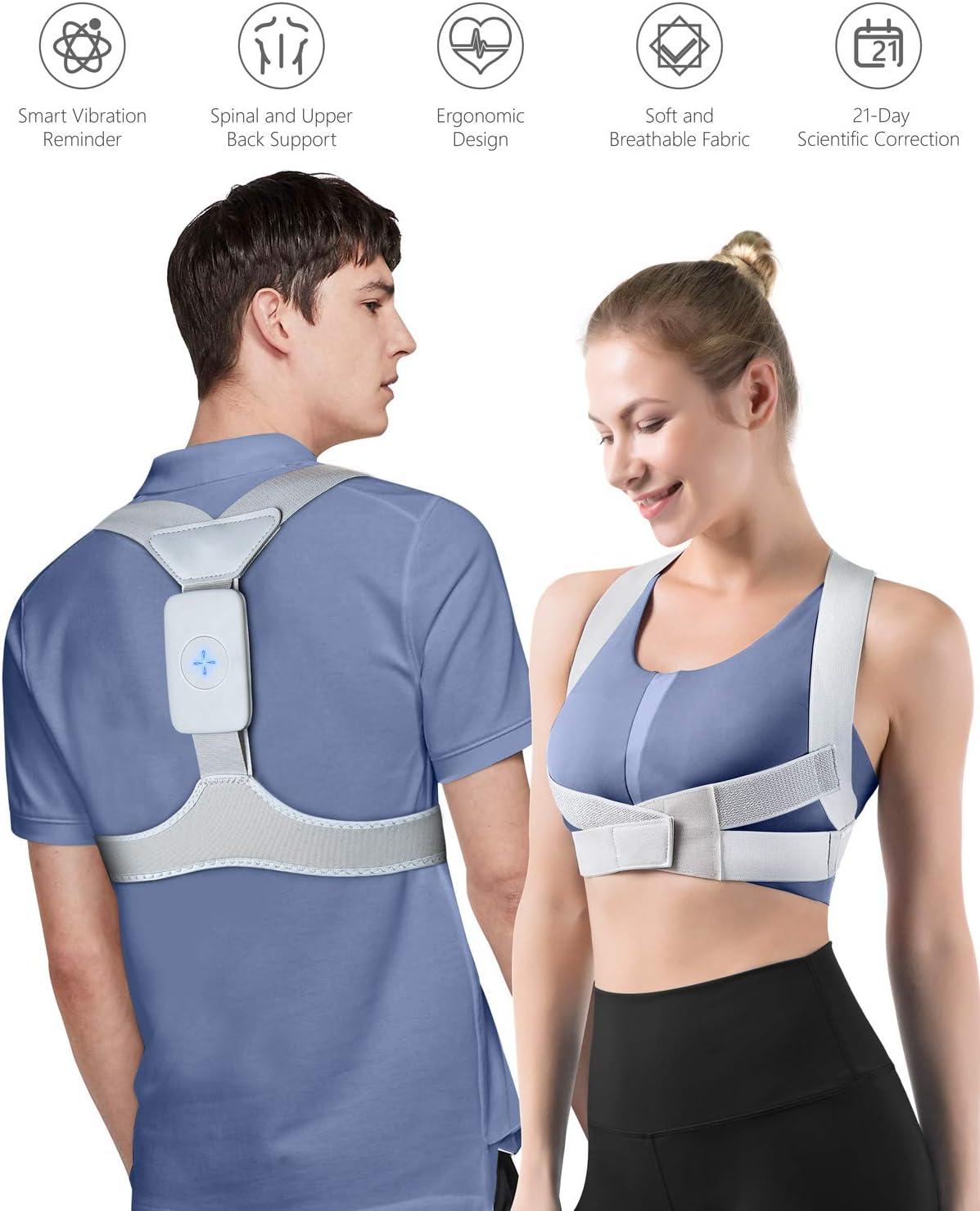 Homtiky Corrector de Postura Inteligente con Vibración para Hombre y Mujer, Corrector Postura Espalda Inteligente para Aliviar el Dolor de Espalda, Hombro y Cuello, M