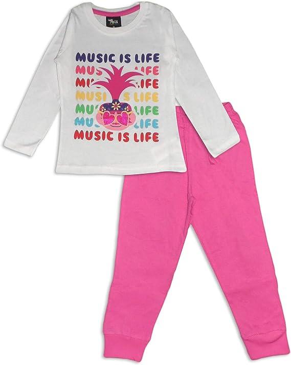 Trolls Conjunto de pijama de manga larga de algodón para niñas