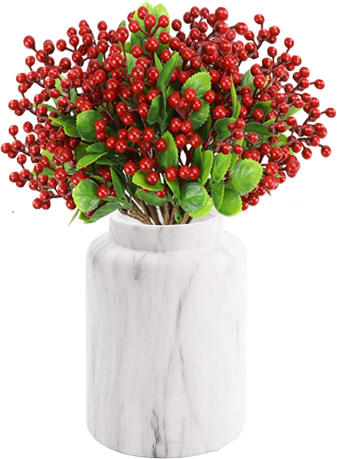 TITATI 18 Pcs Artificial Berry Stems 9.5 inch Fake Red Berries Holly Berry Picks Branches for Christmas Tree Decorations, Crafts, DIY Holiday Home Decor…