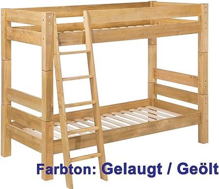 Para cama de niños Moby litera con escalera, la litera de madera de pino maciza, de delfines, pino, Beige barnizado, 90 x 200 cm: Amazon.es: Hogar