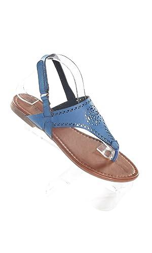 Hadari Women's Navy Wrap Around Velcrow Strap Thong Flat Sandal