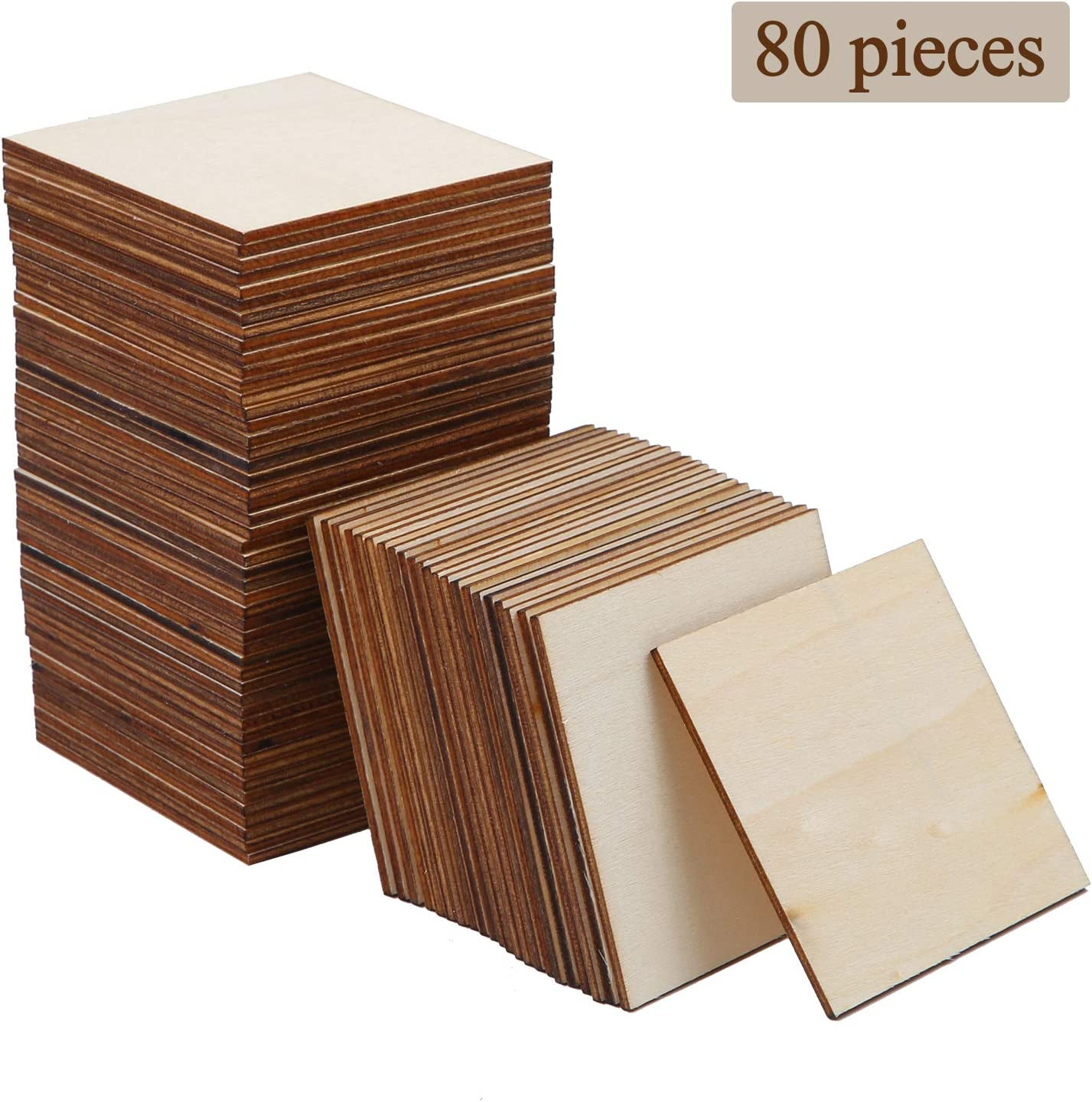 3 x 3 Inches Ruisita 80 Pieces Square Unfinished Blank Wood Pieces Wooden Cutout Tiles for Painting Writing and DIY Arts Crafts Project,3 x 3 Inch
