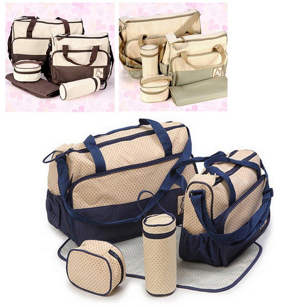 khaki 5tlg Babytasche Multifunktionale wasserdichte Mamabeutel Kinderwagen Muttertasche Babytasche Mama Tote Baby Wickeltaschen