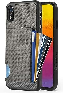 iPhone XR Wallet Case, iPhone XR Card Holder Case, ZVEdeng Protective Credit Card Case Carbon Fiber Card Clip Money Pocket Shockproof Slim Card Grip Case Cover for Apple iPhone XR 6.1'' Black