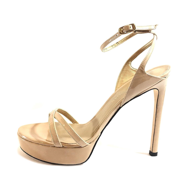 67d2e6c81fc Amazon.com  Stuart Weitzman Bebare Patent-Leather Women s Platform High  Heels Tan Sandals US 10 M  Shoes