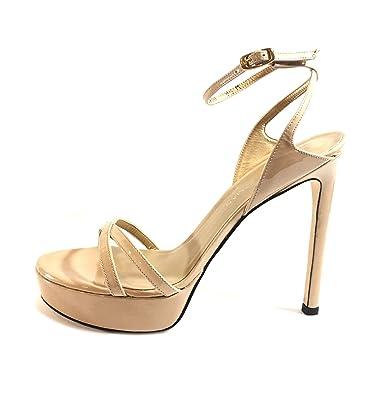 0e4b44ab19d Amazon.com  Stuart Weitzman Bebare Patent-Leather Women s Platform High  Heels Tan Sandals US 10 M  Shoes