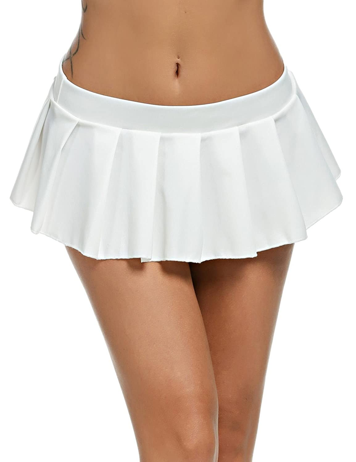 e1413100c 100% Brand New Material: 95% Nylon, 5% Spandex 6 Colors available: White,  Black, Red Waist: Low Waist Skirt Length: Micro Mini Skirt Type: Pleated  Pattern: ...