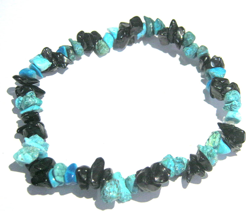 Pulsera elástica de turmalina negra turquesa con cristal curativo psíquico, regalo de energía para la suerte, meditación y accesorio hecho a mano