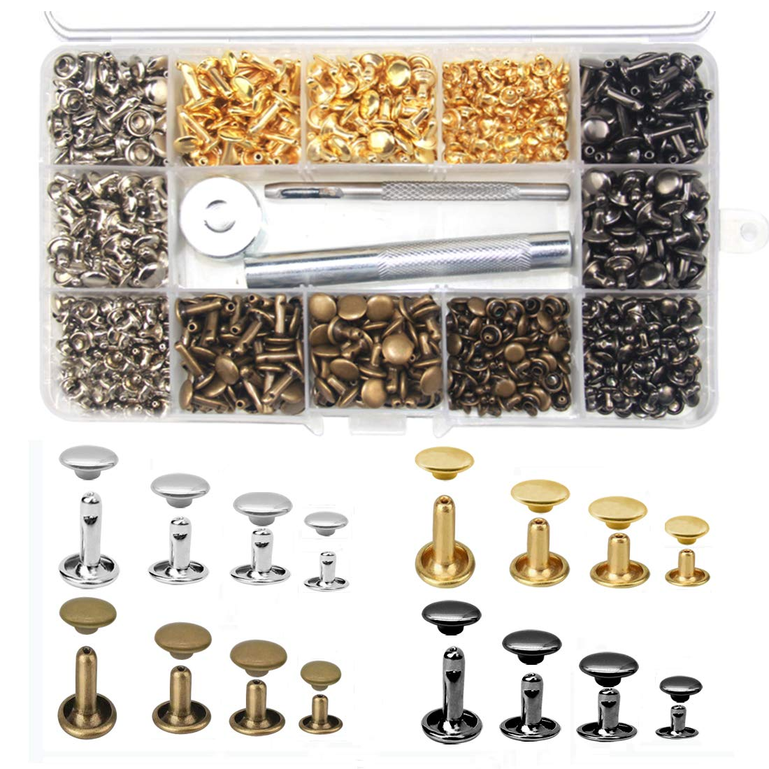 480 Sets 4 Sizes Leather Rivets Double Cap Rivet Buttons Tubular Metal Studs with 3 Fixing Tools Set for DIY Leather Craft Repairs Decoration 4 Colors