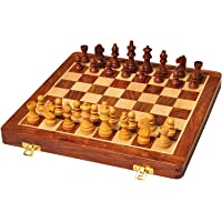 Palm Royal Handicrafts Handmade Folding Wooden Chess Set Board with Magnetic Pieces with Extra Queen with Premium Quality 10 inch .Christmas Gift.