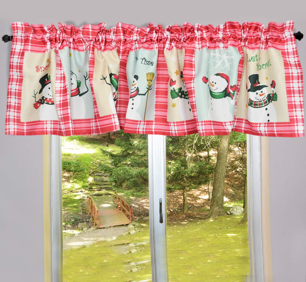 Home-X Snow Time Checkered Window Valance//Curtains Christmas Decorations and Home D/écor