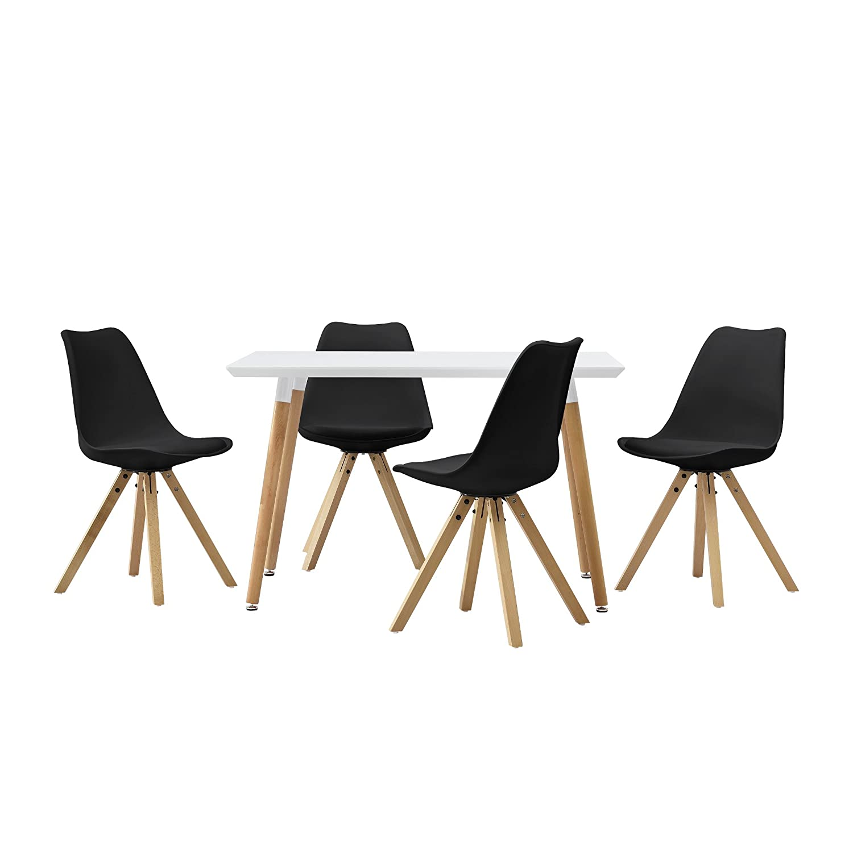 en.casa] Esstisch mit 4 Stühlen schwarz gepolstert 120x80cm ...