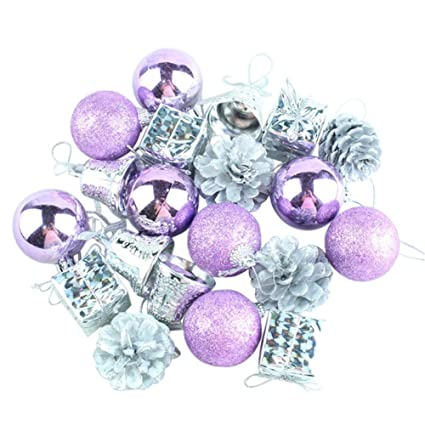 remeehi luxury collection christmas tree decorations and ornaments 20pcs purplesilver