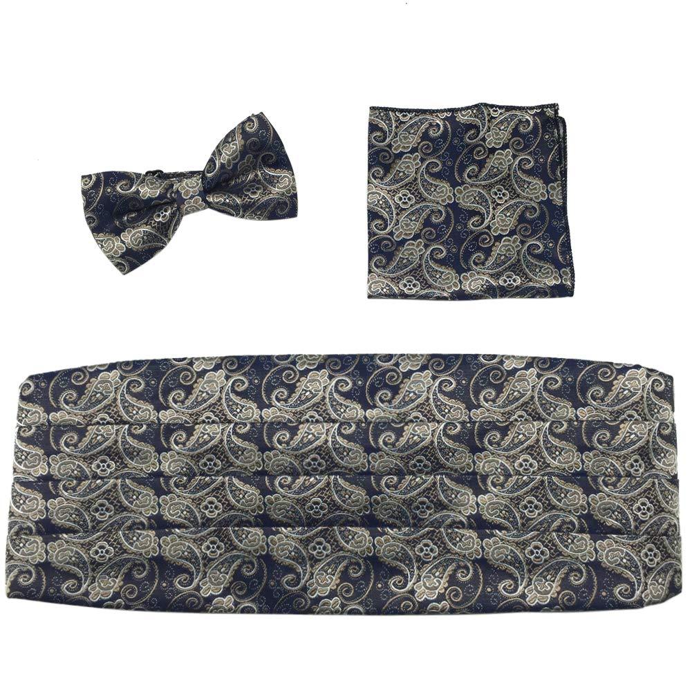 PenSee Formal Florals Bow Tie /& Hankercheif /& Cummerbund Set-Various Colors