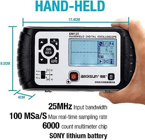 ALLOSUN Oscilloscope Handheld Scope Digital Storage Meter and Digital Multimeter DMM 25MHz Single Channel, Model EM125