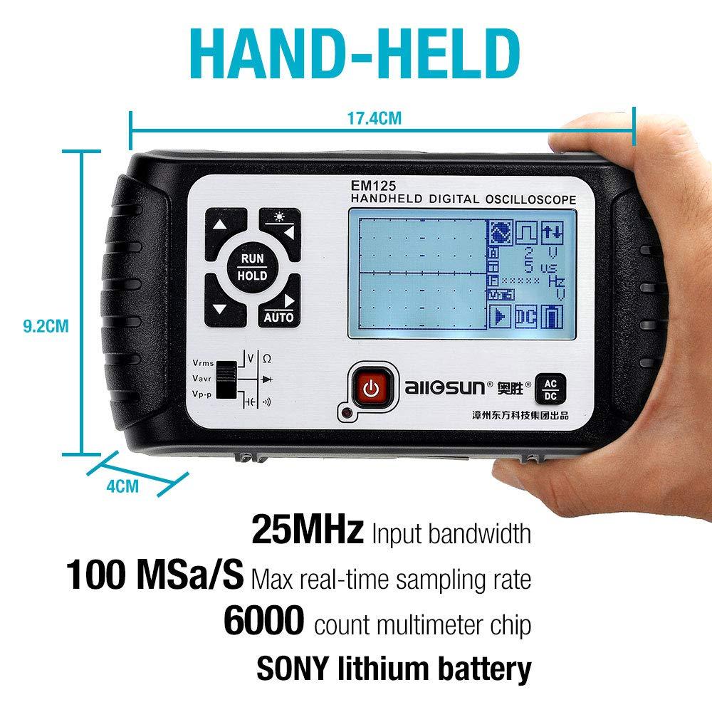 all-sun EM125 Handheld Oscilloscope 25Mhz Single Channel