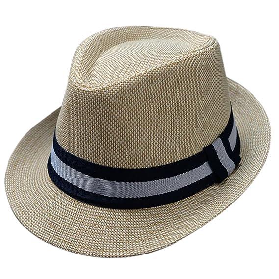 Leisial Sombrero de Jazz Sombrero de Paja Sombrero Visor de Sol Protección  Solar Verano Playa para Hombre Mujer Unisex  Amazon.es  Ropa y accesorios c6b6d214bb9