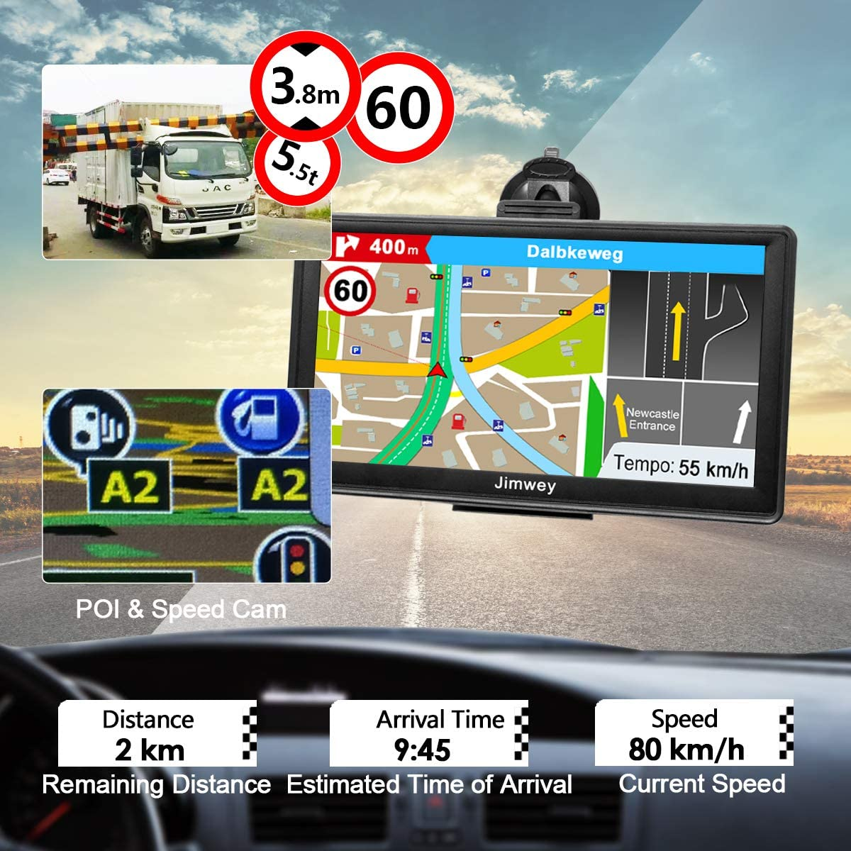 SAT NAV GPS Navigation System Jimwey Inch 16GB Latest 2019 Maps Car Truck Lorry Satellite Navigator Device Full Europe with Lifetime Free Update with Post Code Search Speed Camera Alert
