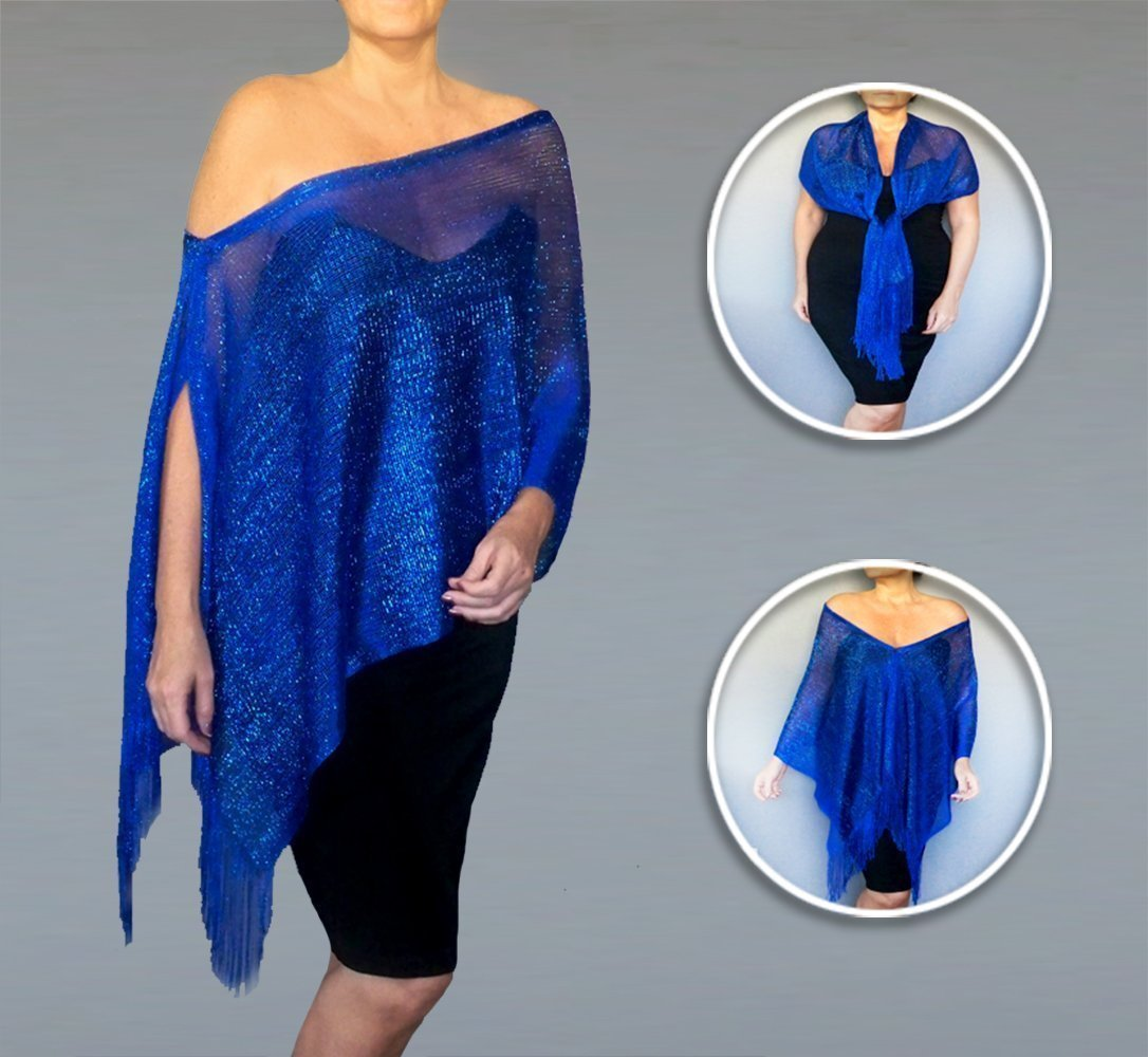 83afe3c5da98d You can be the star of the show or just a spectator in this sparkly blue  shawl. ZiiCi shawls feature a unique adjustable elastic neckline with a  cord lock ...