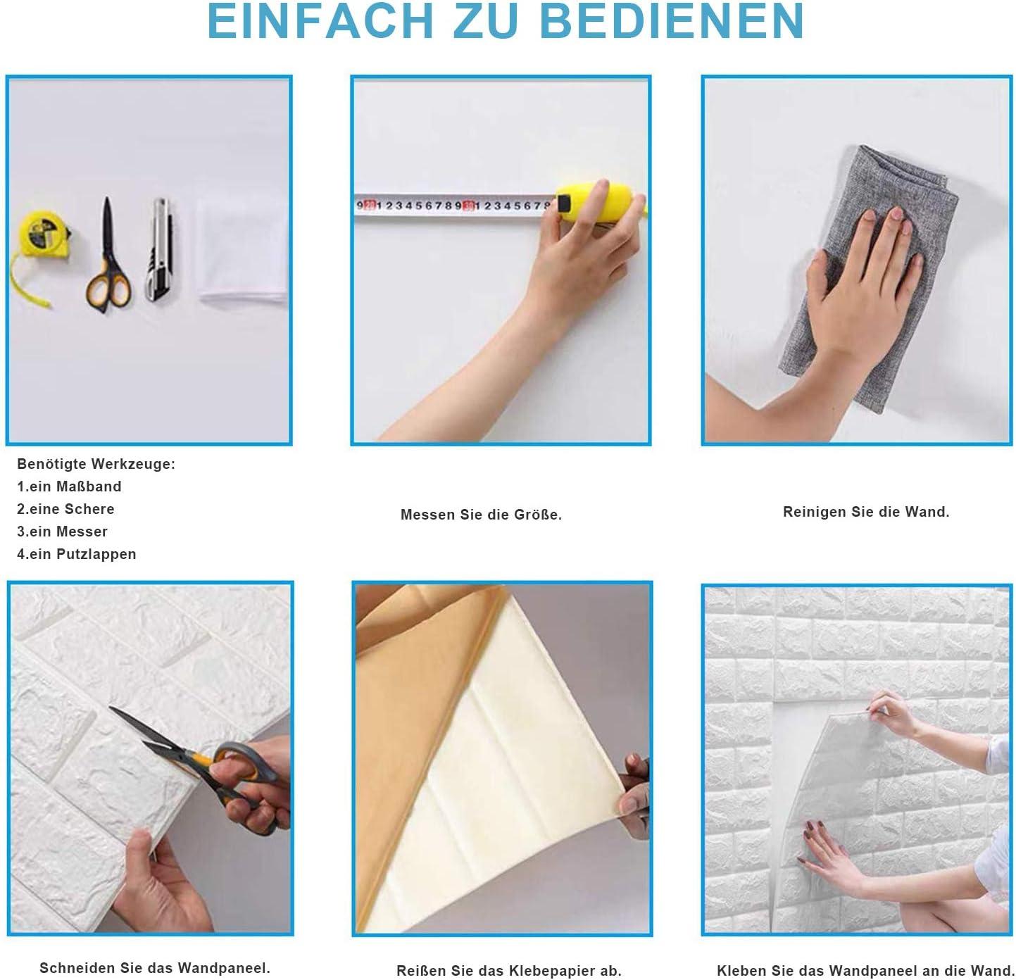 10 Hintergrundbilder Tapeten 3D Schaum Selbstklebende Tapete Hintergrund 70x77cm