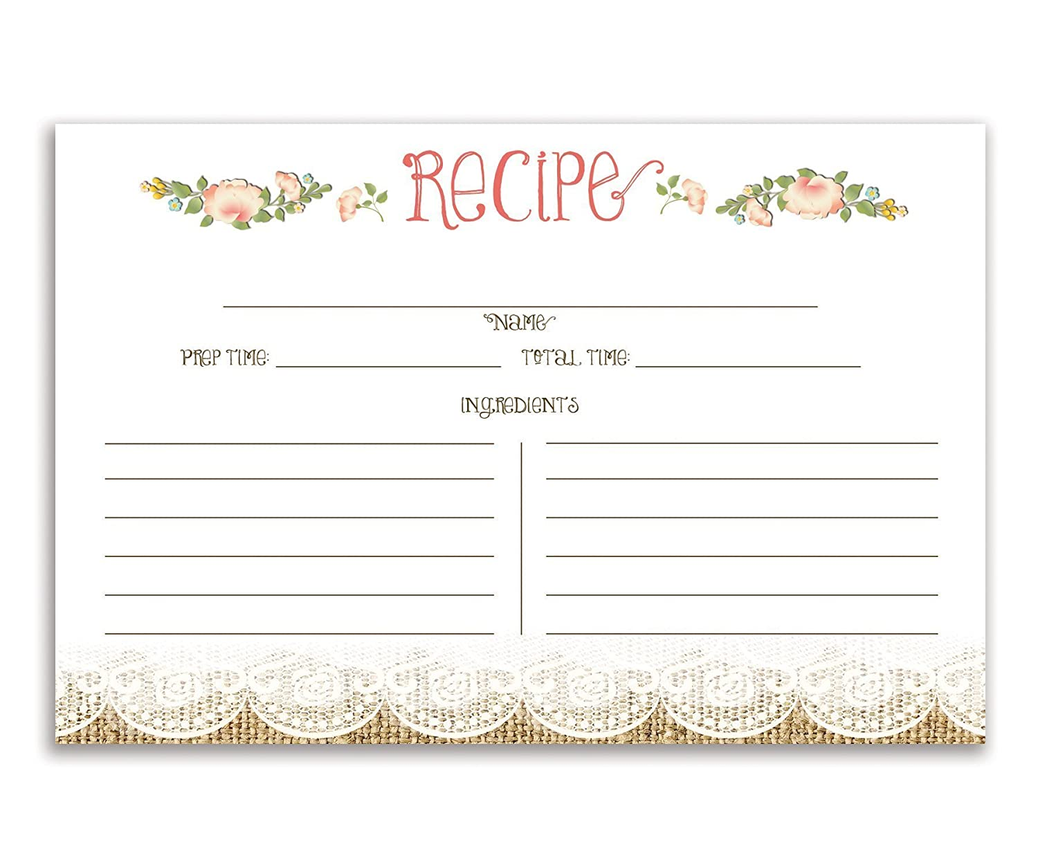 4x6 inches Set of 25 Floral and Lace Recipe Cards Ainsley Double Sided Card Stock Recipe Card Set
