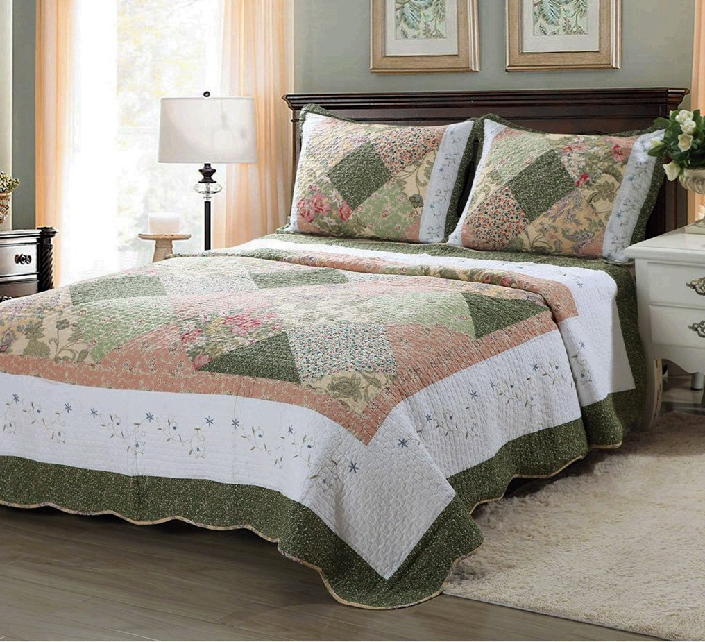 Cozy Line Home Fashions Floral Real Patchwork Olive Green Pink Country, 100% COTTON Quilt Bedding Set, Reversible Coverlet Bedspread, Scalloped Edge,Gifts for Women (Williamsburg, King - 3 piece)