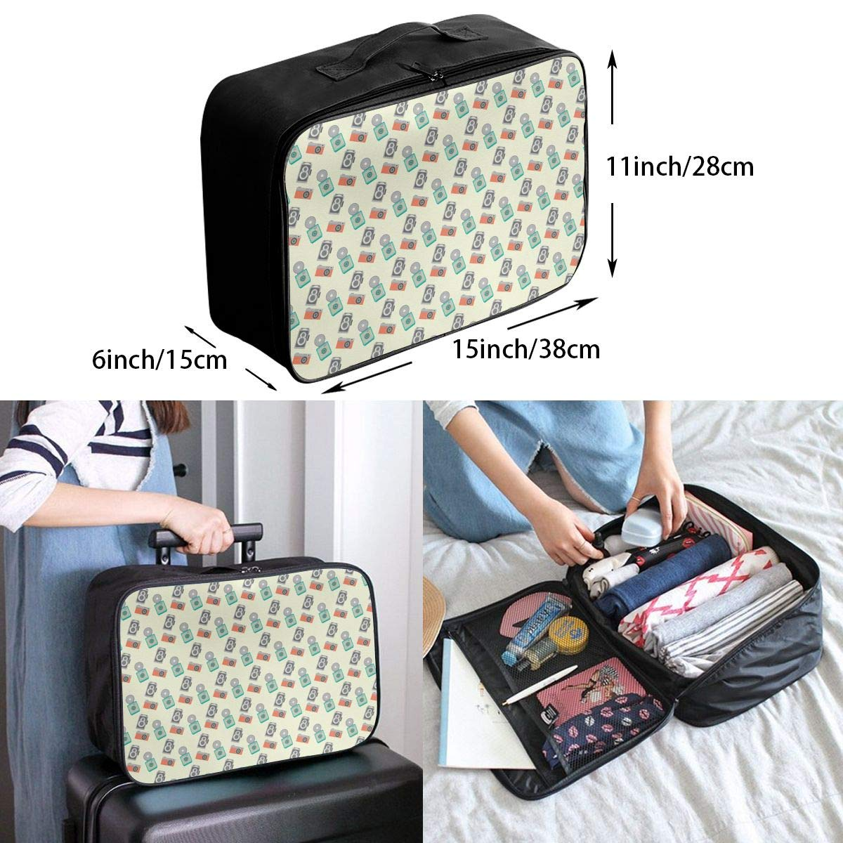 YueLJB Camera Pattern Lightweight Large Capacity Portable Luggage Bag Travel Duffel Bag Storage Carry Luggage Duffle Tote Bag