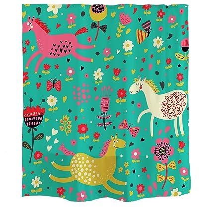 Orange Design Cartoon Running Horses Shower Curtain Hooks Butterfly Flower Green Waterproof Mildew Resistant Fabric