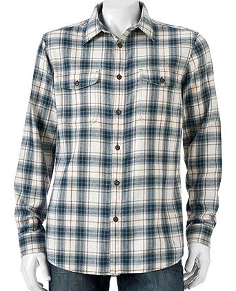 900a3ecd Sonoma Mens Flannel Shirt Size Western Beige Blue Plaid Check (XLT ...