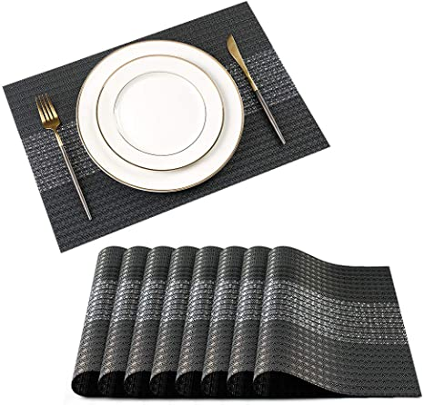 Set Of 8 PVC Table Placemats /& Coasters Non-slip Dining Table Place Mats 45*30cm
