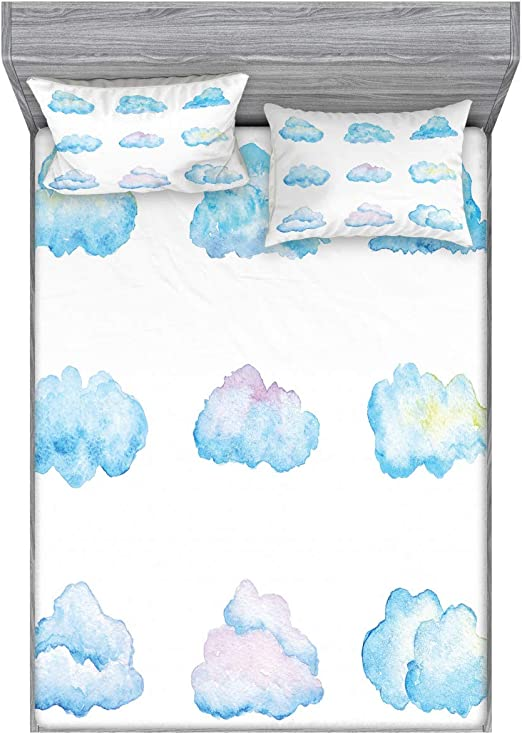 Fitted Sheet /& Pillow Sham Set Decorative Printed 3 Piece Bedding by Ambesonne