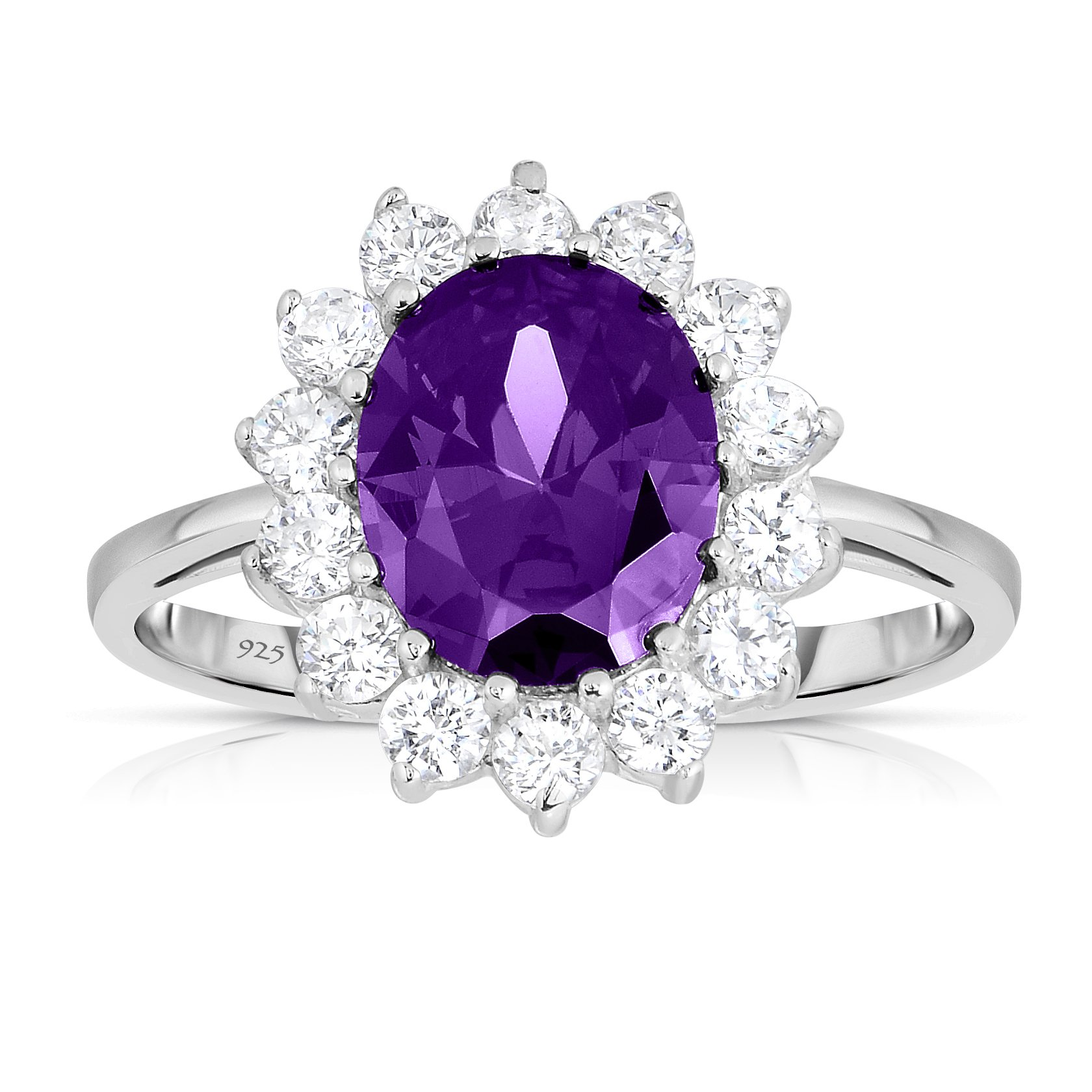 Sterling Silver Purple Amethyst CZ with White CZ Helo Jacket Princess Diana Kate Middleton Engagement Ring - Size 6