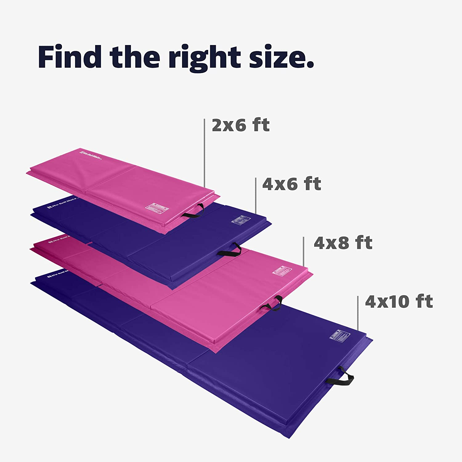 Lightweight and Folds for Carrying Purple//Pink We Sell Mats 4 ft x 8 ft x 2 in Personal Fitness /& Exercise Mat