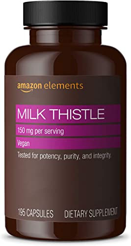 Amazon Elements Milk Thistle, Vegan, 150mg, 195 Capsules, more than a 6 month supply Packaging may vary