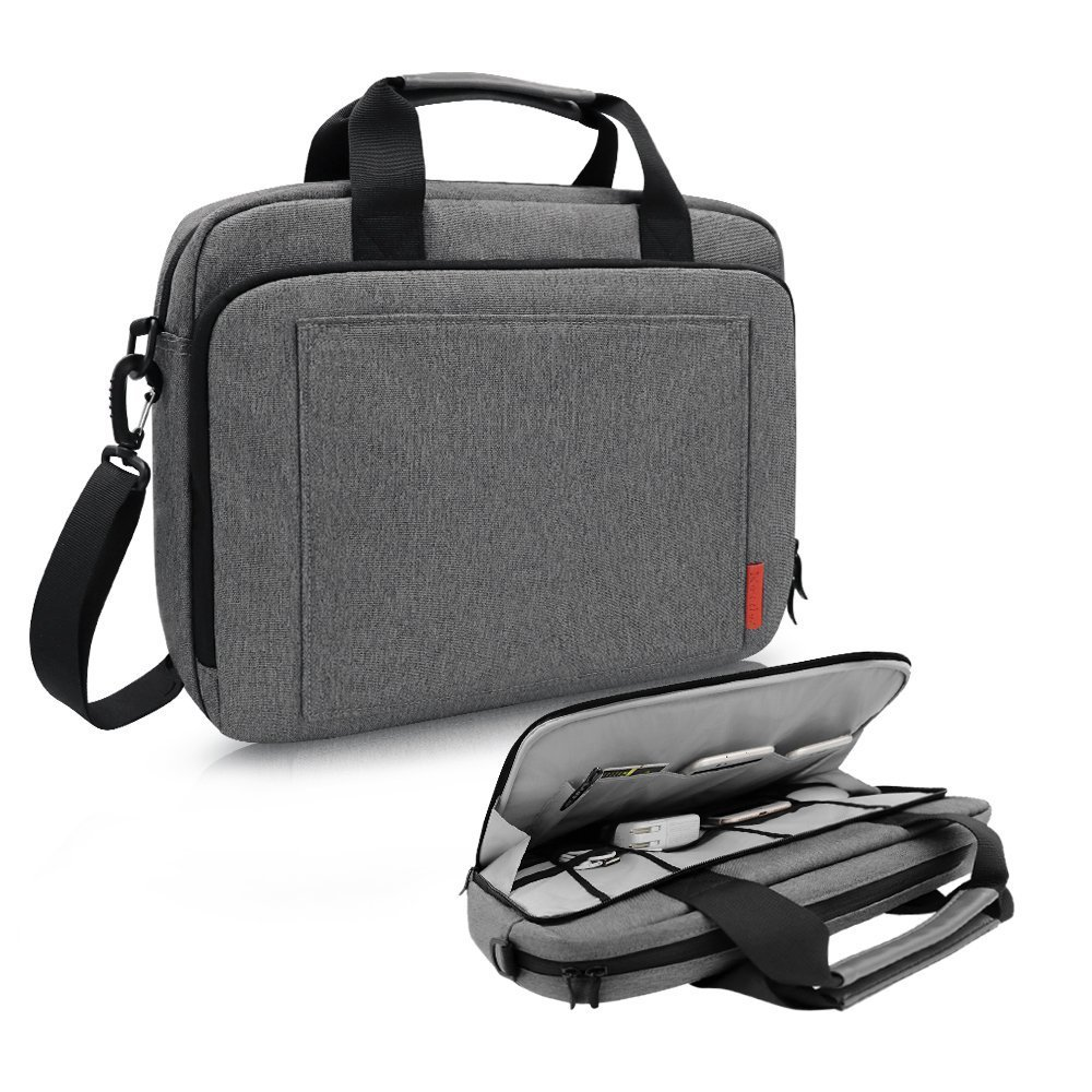 iCozzier 13.3-14 Inch Laptop Shoulder bag, Handle Briefcase with Side Organizer/Protective Case/Electronic Accessories Storage Messenger Carrying Case for Ultrabook/Notebook/ MacBook- Dark Gray