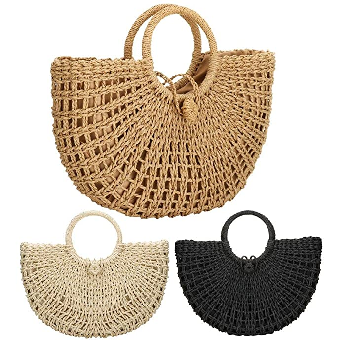 Amazon.com: Bolsas de paja para mujer, tejido a mano, gran ...