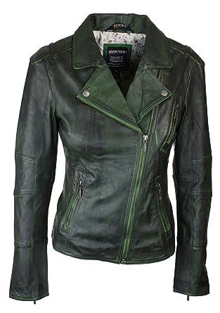 Veste en cuir femme couleur verte
