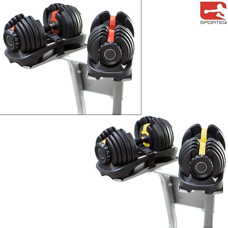 Sporteq Verstellbare Hanteln 24 kg, 40 kg Gewichts-Set einstellbar Gym Fitness Workout
