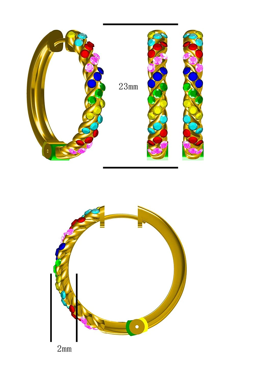 10k White Gold Prism Jewel 0.81Ct Ruby Pink /& Blue Sapphire With Multi Color Diamond Hoop Earrings