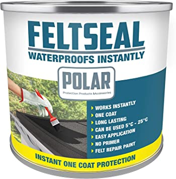 Polar Premium Grey Instant Waterproof Felt Roof Sealant Paint 500ml Emergency Felt Roof Repair Sealer For All Felt Roofs Amazon Co Uk Diy Tools