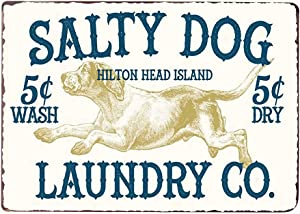 PXIYOU Salty Dog Laundry CO Vintage Farmhouse Laundry Room Sign Country Home Decor Washroom Signs Art Wall Blue 8X12Inch