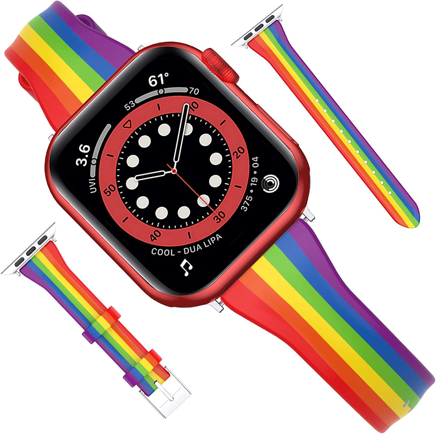 Goton Compatible for Apple Watch Band 42mm 44mm Leather, Women Girl Soft Slim Rainbow Genuine Leather Wristband Straps for iWatch SE Series 6 5 4 3 2 1 Band (Rainbow, 42mm/44mm)