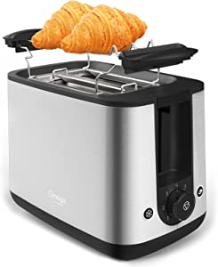OMAIGA Toaster 2 Slice, Wide Slot 2 Slice Toaster, Toasters with Warming Rack, 800W Stainless Steel Toaster, Bagel Toaster with 7 Browning Settings/Cancel/Bagel/Defrost